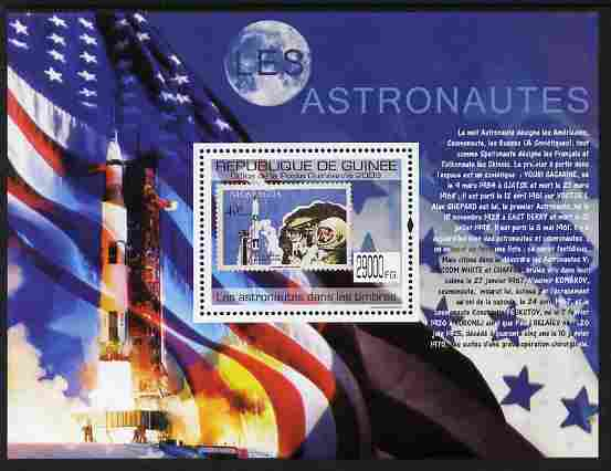 Guinea - Conakry 2009 Stamp on Stamp - Astronauts perf m/sheet unmounted mint