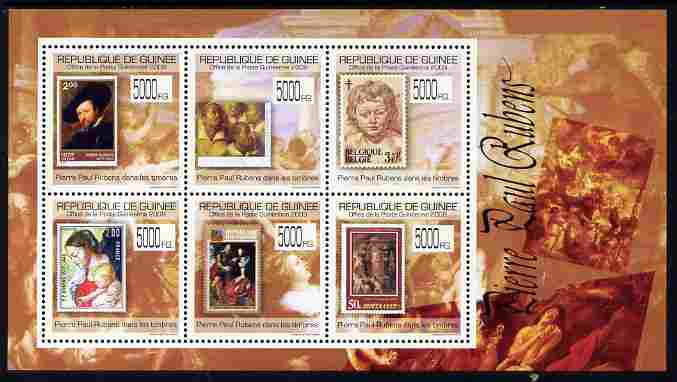 Guinea - Conakry 2009 Stamp on Stamp - Peter Paul Rubens perf sheetlet containing 6 values unmounted mint