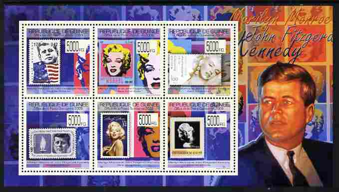 Guinea - Conakry 2009 Stamp on Stamp - John F Kennedy & Marilyn Monroe perf sheetlet containing 6 values unmounted mint