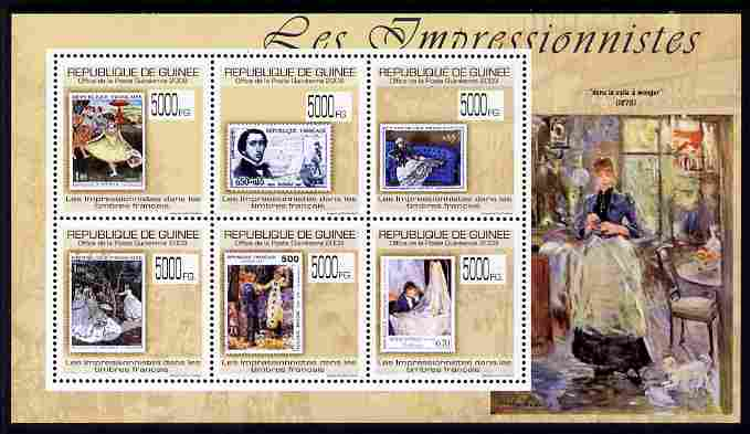 Guinea - Conakry 2009 Stamp on Stamp - The Impressionists perf sheetlet containing 6 values unmounted mint