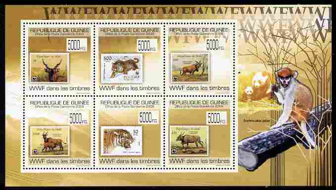 Guinea - Conakry 2009 Stamp on Stamp - WWF perf sheetlet containing 6 values unmounted mint