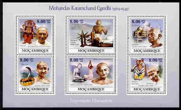Mozambique 2009 Mahatma Gandhi perf sheetlet containing 6 values unmounted mint Michel 3294-99