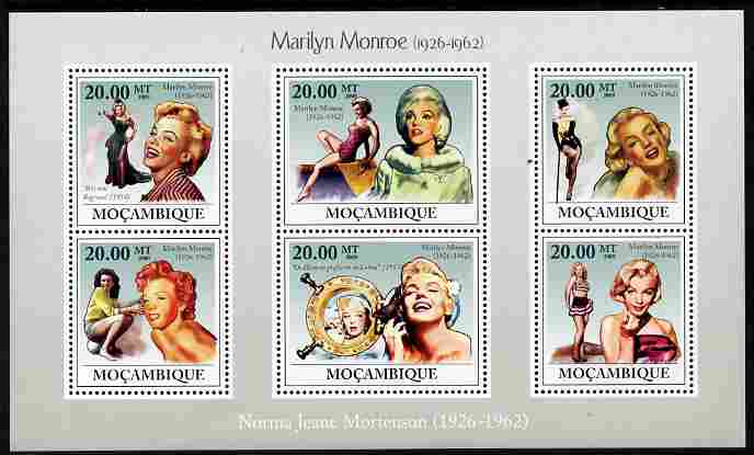 Mozambique 2009 Marilyn Monroe perf sheetlet containing 6 values unmounted mint Michel 3336-41