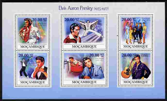 Mozambique 2009 Elvis Presley perf sheetlet containing 6 values unmounted mint Michel 3350-55