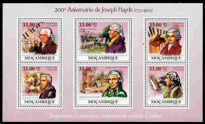 Mozambique 2009 200th Death Anniversary of Joseph Haydn perf sheetlet containing 6 values unmounted mint Michel 3392-97