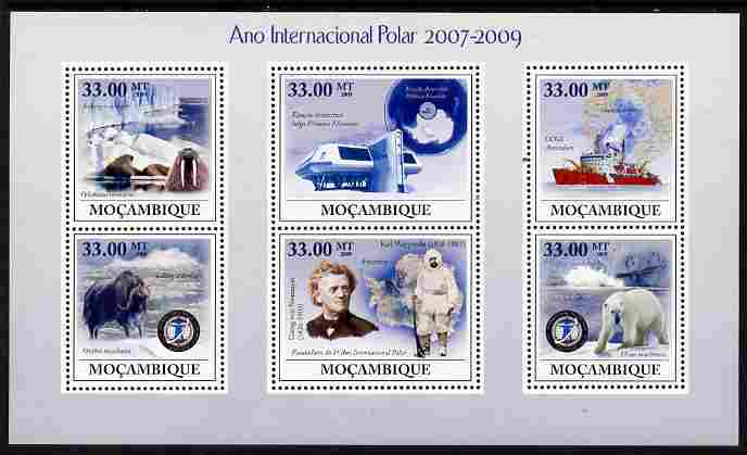 Mozambique 2009 International Polar Year perf sheetlet containing 6 values unmounted mint Michel 3462-67