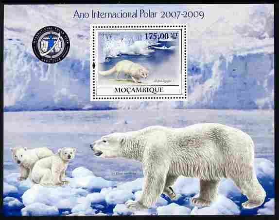 Mozambique 2009 International Polar Year perf m/sheet unmounted mint Michel BL 288, stamps on polar, stamps on bears, stamps on weather, stamps on wolves, stamps on