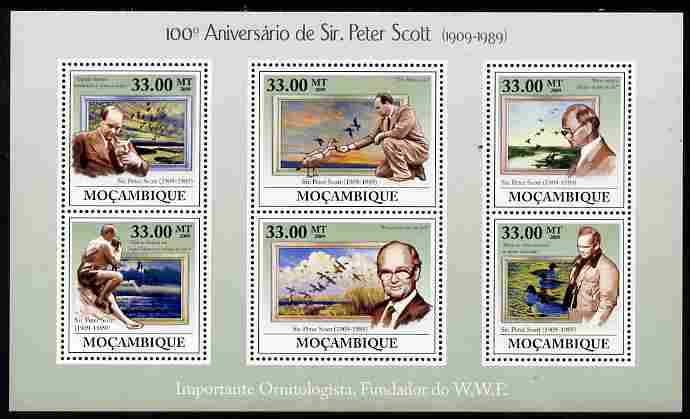 Mozambique 2009 Birth Centenary of Sir Peter Scott perf sheetlet containing 6 values unmounted mint Michel 3448-53