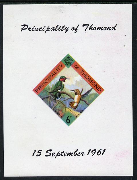 Thomond 1961 Humming Birds 6d (Diamond-shaped) imperf m/sheet unmounted mint