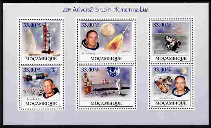 Mozambique 2009 40th Anniversary of First Man on the Moon perf sheetlet containing 6 values unmounted mint Michel 3455-60