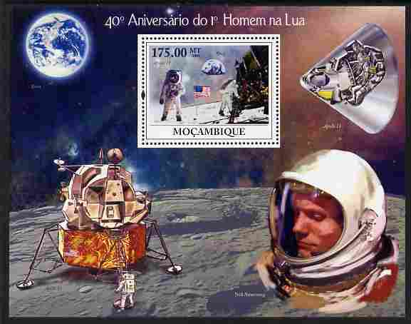 Mozambique 2009 40th Anniversary of First Man on the Moon perf m/sheet unmounted mint Michel BL 287