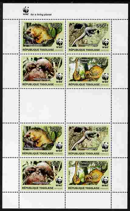 Togo 2010 WWF - Pangolins - Phataginus tricuspis perf sheetlet containing 2 x sets of 4 vaues unmounted mint
