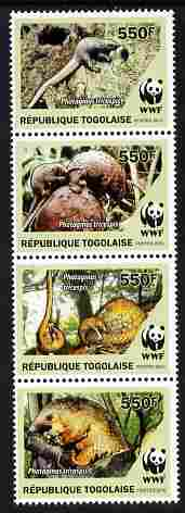 Togo 2010 WWF - Pangolins - Phataginus tricuspis perf set of 4 vaues in se-tenant strip unmounted mint