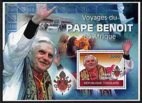 Togo 2010 Pope Benedict in Africa perf m/sheet unmounted mint Michel BL 522