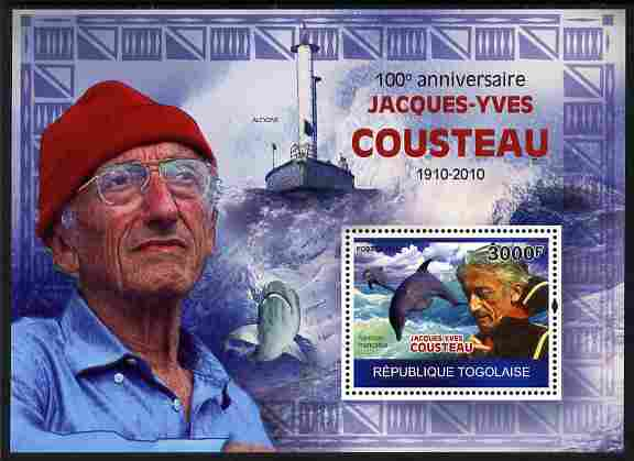 Togo 2010 Birth Centenary of Jacques Cousteau perf m/sheet unmounted mint Michel BL 516