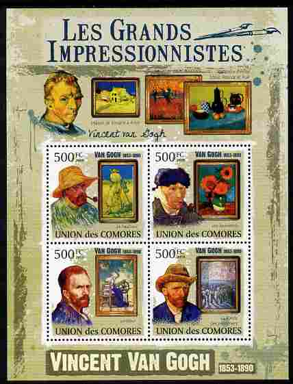 Comoro Islands 2009 Impressionists - Van Gogh perf sheetlet containing 4 values unmounted mint Michel 2592-95