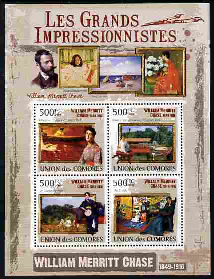 Comoro Islands 2009 Impressionists - William Merrit Chase perf sheetlet containing 4 values unmounted mint Michel 2564-67