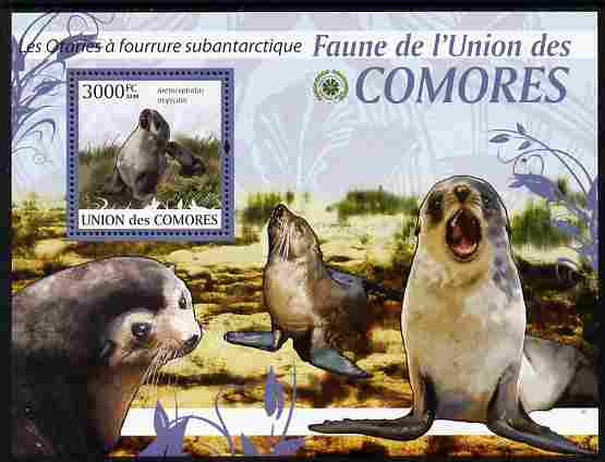 Comoro Islands 2009 Sea Lions perf m/sheet unmounted mint Michel BL 528