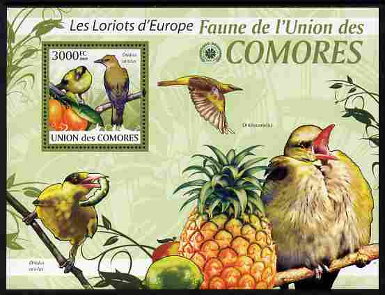 Comoro Islands 2009 Golden Oriole & Fruit perf m/sheet unmounted mint Michel BL 516
