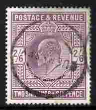 Great Britain 1902-13 KE7 2s6d purple with neat circular cancel cat \A3140
