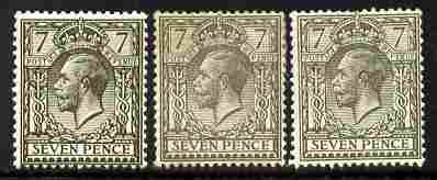 Great Britain 1912-24 KG5 7d Royal Cypher the three shades mounted mint SG 387-9 cat \A3160
