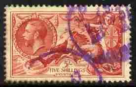 Great Britain 1934 Re-engraved Seahorse 5s well centred with violet cancels SG451 cat \A385