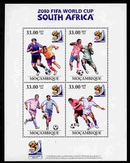 Mozambique 2010 Footbal World Cup perf sheetlet containing 4 values unmounted mint