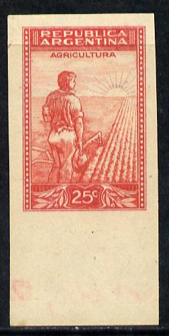 Argentine Republic 1936 Ploughman 25c imperf proof in red on cream ungummed paper, as SG 656
