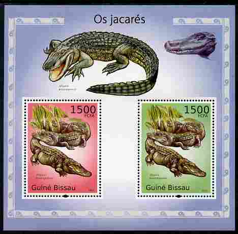 Guinea - Bissau 2010 Alligators perf s/sheet containing 2 values unmounted mint