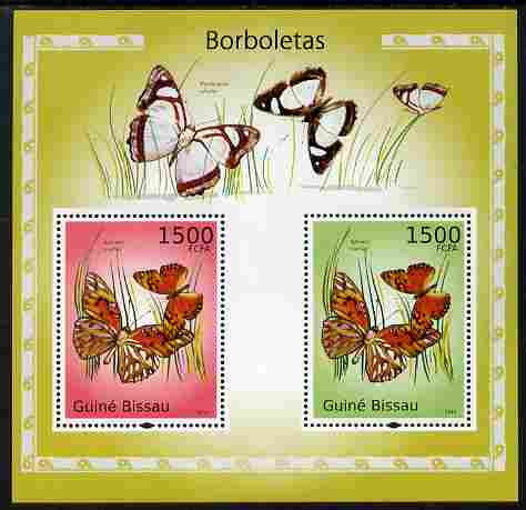 Guinea - Bissau 2010 Butterflies perf s/sheet containing 2 values unmounted mint