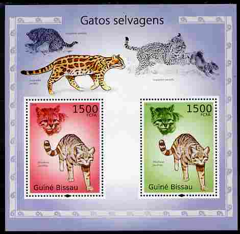 Guinea - Bissau 2010 Cats perf s/sheet containing 2 values unmounted mint