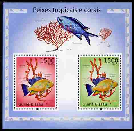 Guinea - Bissau 2010 Tropical Fish & Coral perf s/sheet containing 2 values unmounted mint