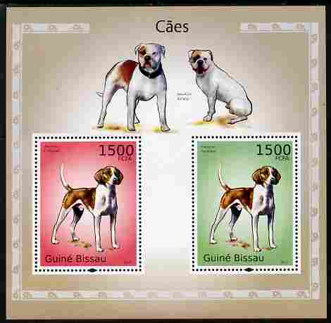 Guinea - Bissau 2010 Dogs perf s/sheet containing 2 values unmounted mint