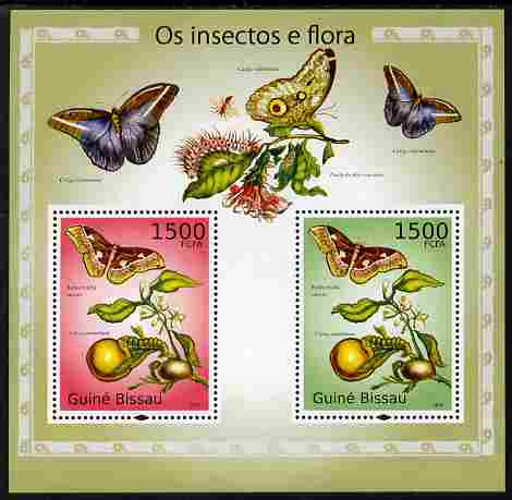 Guinea - Bissau 2010 Insects & Flowers perf s/sheet containing 2 values unmounted mint