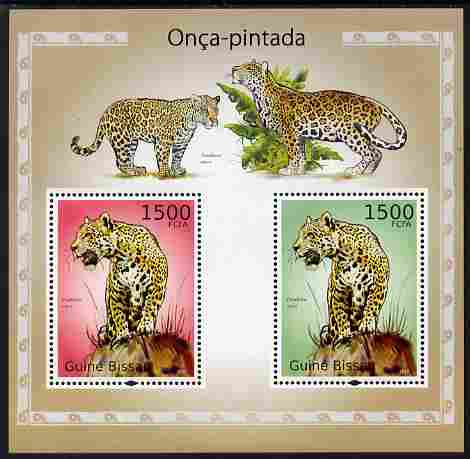 Guinea - Bissau 2010 Jaguars perf s/sheet containing 2 values unmounted mint