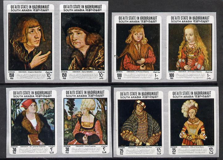 Aden - Qu'aiti 1967 Paintings by Cranach imperf set of 8 (4 se-tenant pairs) unmounted mint Mi 147-54