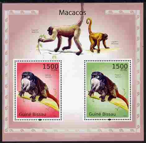 Guinea - Bissau 2010 Macaques perf s/sheet containing 2 values unmounted mint