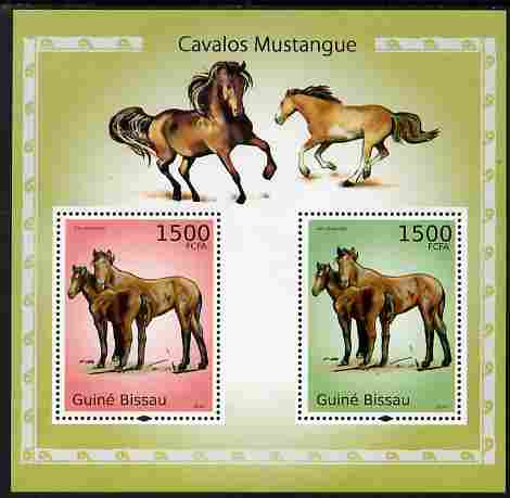 Guinea - Bissau 2010 Mustangs perf s/sheet containing 2 values unmounted mint