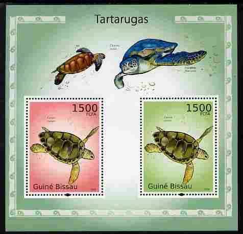 Guinea - Bissau 2010 Turtles perf s/sheet containing 2 values unmounted mint , stamps on , stamps on  stamps on reptiles, stamps on  stamps on turtles