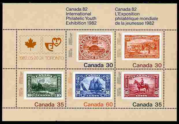 Canada 1982 'Canada 82' International Philatelic Youth Exhibition perf m/sheet containing set of 5 unmounted mint, SG MS 1042