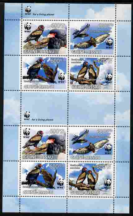 Guinea - Bissau 2011 WWF - Bateleur Eagle perf sheetlet containing two sets of 4 in se-tenant blocks unmounted mint
