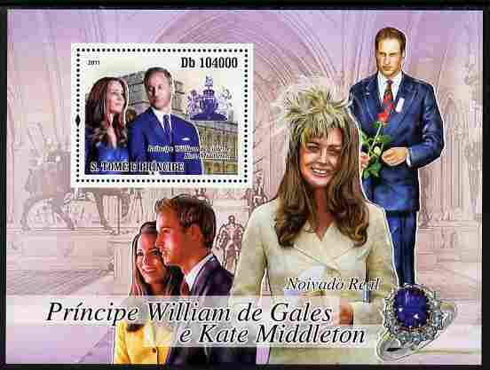 St Thomas & Prince Islands 2011 Royal Engagement - William & Kate perf m/sheet unmounted mint