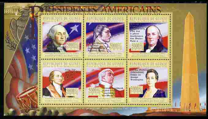 Guinea - Conakry 2010-11 Presidents of the USA #01 - George Washington perf sheetlet containing 6 values unmounted mint