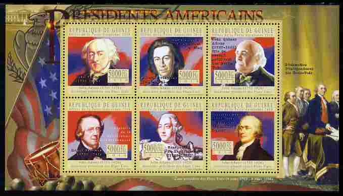 Guinea - Conakry 2010-11 Presidents of the USA #02 - John Adams perf sheetlet containing 6 values unmounted mint