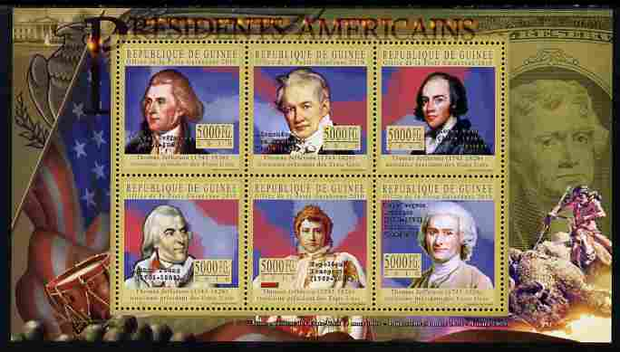 Guinea - Conakry 2010-11 Presidents of the USA #03 - Thomas Jefferson perf sheetlet containing 6 values unmounted mint