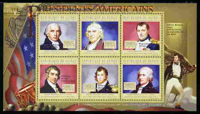 Guinea - Conakry 2010-11 Presidents of the USA #04 - James Madison perf sheetlet containing 6 values unmounted mint
