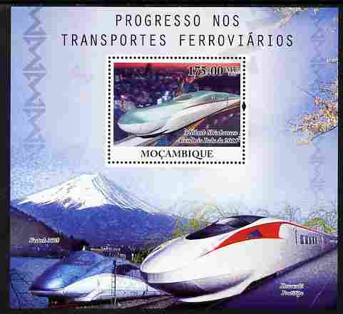 Mozambique 2010 Japanese High Speed Trains perf s/sheet unmounted mint