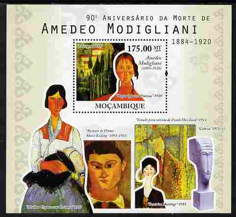 Mozambique 2010 90th Death Anniversary of Amedeo Modigliani perf s/sheet unmounted mint