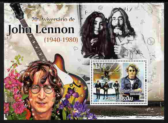 Guinea - Bissau 2010  70th Birth Anniversary of John Lennon perf s/sheet unmounted mint