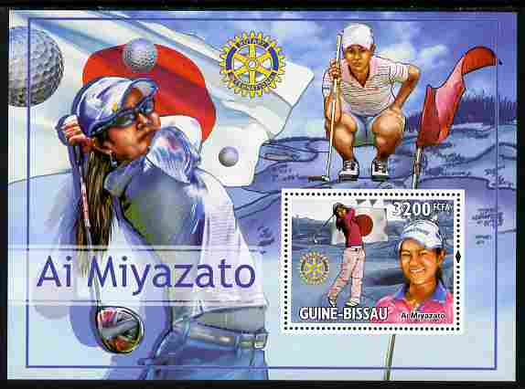 Guinea - Bissau 2010 Japanese Golfers - Ai Miyazato perf s/sheet with Rotary Logo unmounted mint
